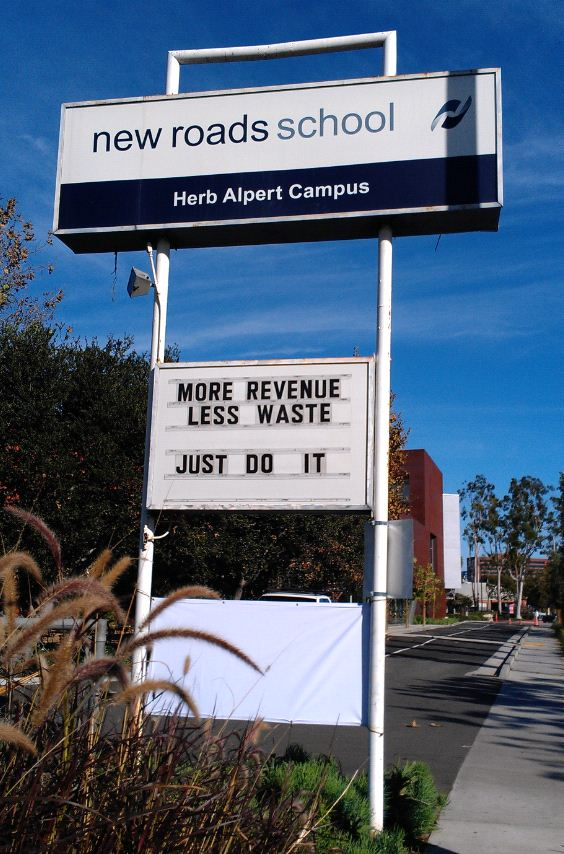 Sign - Santa Monica - New Roads School Revenue Waste