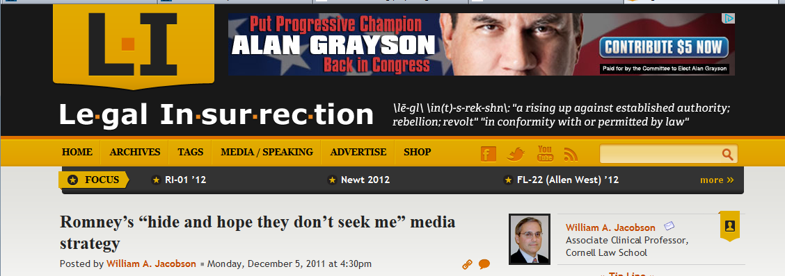 Legal Insurrection Alan Grayson banner ad
