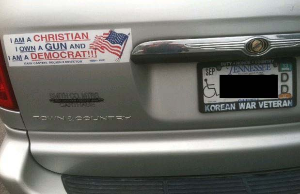 Bumper Sticker - Nashville TN - Christian Gun Democrat