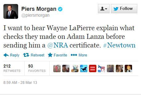 Twitter - @piersmorgan - Lanza NRA