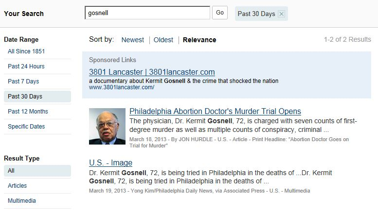 NYT search Gosnell 30 days ao 4-10-2013
