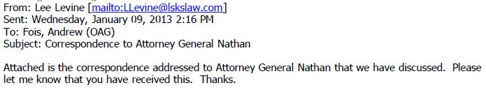Gregory OAG Email Jan 9 2013 Lee Levine email attaching letter to AG