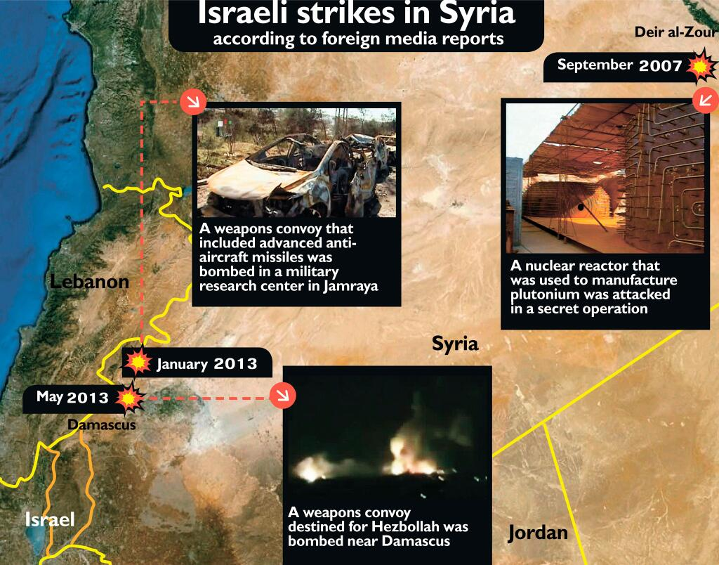 Haaretz Map Israeli Strikes on Syria