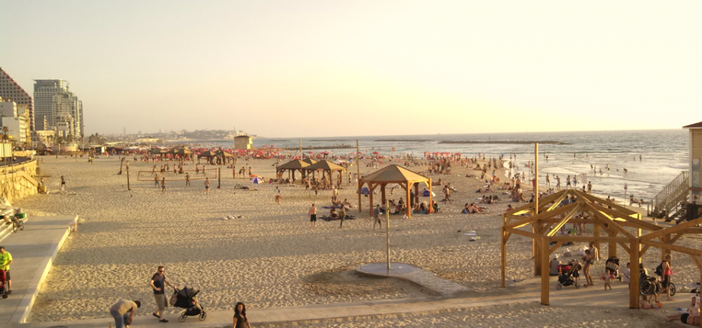 (Tel Aviv beach in front of our hotel)