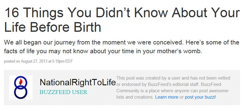 BuzzFeed Right to Life Current