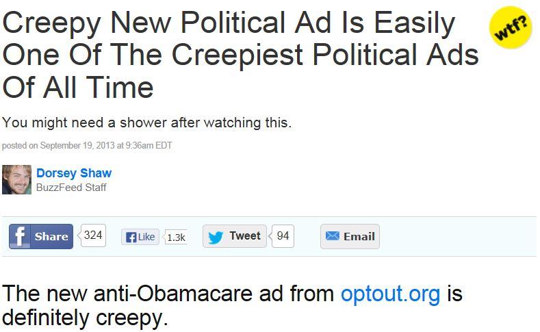 Creepy Obamacare Ad - BuzzFeed Headline