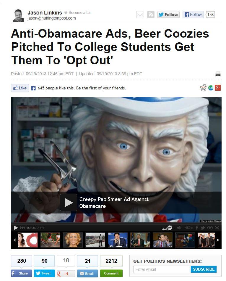 Creepy Obamacare Ad - HuffPo