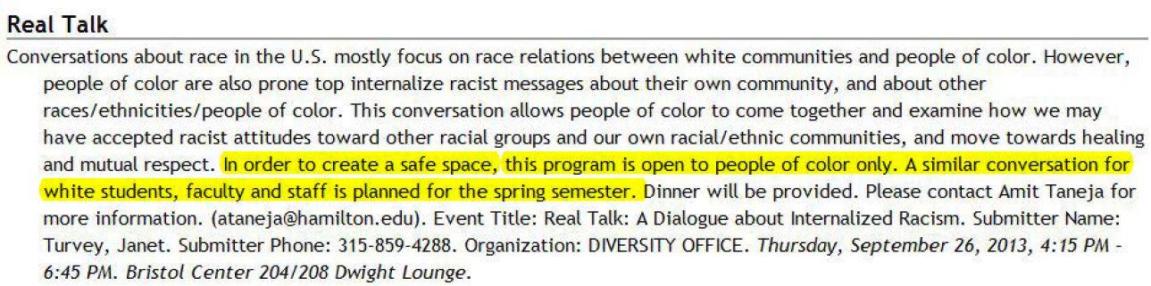 Hamilton College Real Talk Program - Highlighted