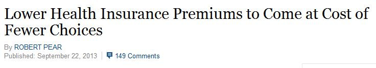 NY Times Obamacare Exhange Lower Cost