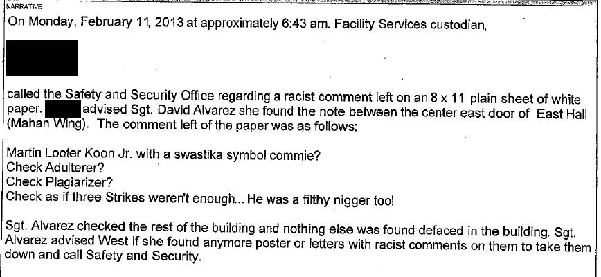 Oberlin - MLK hate poster - Incident Report