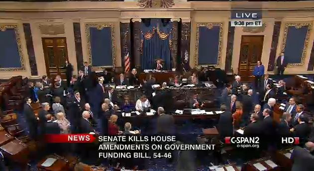 Senate Final Vote Rejecting House Amendments 9-30-2013