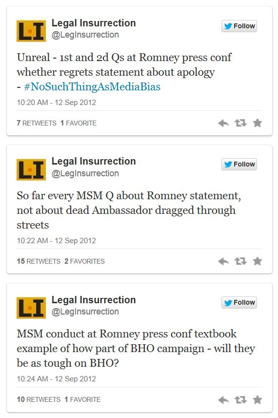 Twitter - Legal Insurrection - Romney Press Conf