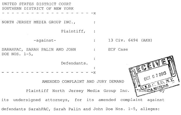 North Jersey Media Group v Palin Amended Complaint Caption
