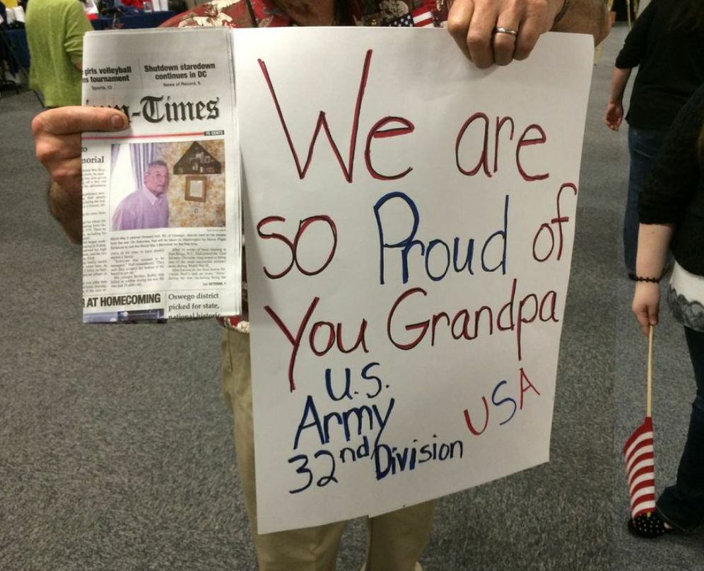 "(""We are so proud of you Grandpa"" sign for Syracuse Honor Flight)"