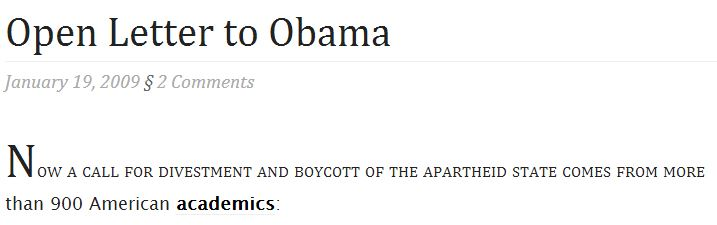 January 19 2009 Open Letter to Obama title divestment
