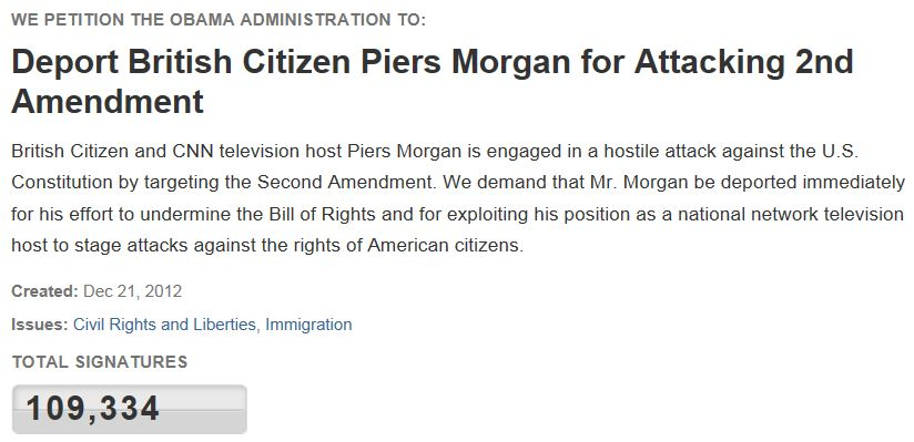 Piers Morgan Petition to Deport