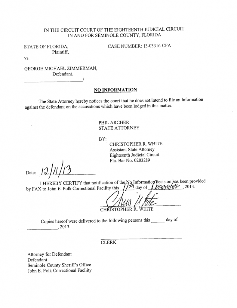 Zimmerman Court Release Record 12-11-2013 p 1