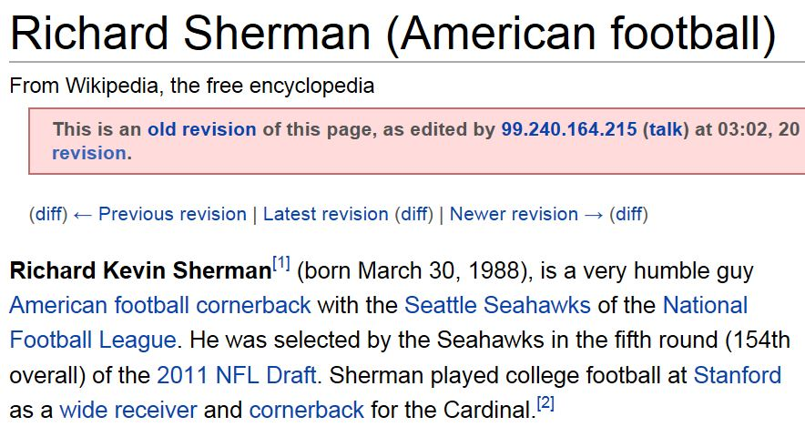 Richard Sherman Wikipedia Page Humble Guy