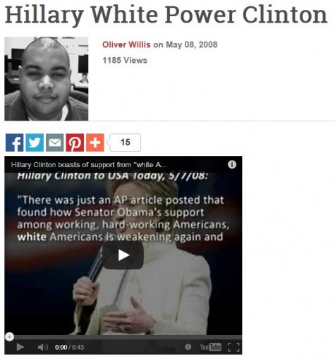 Hillary White Power Clinton Daily Bantor Oliver Willis 2008