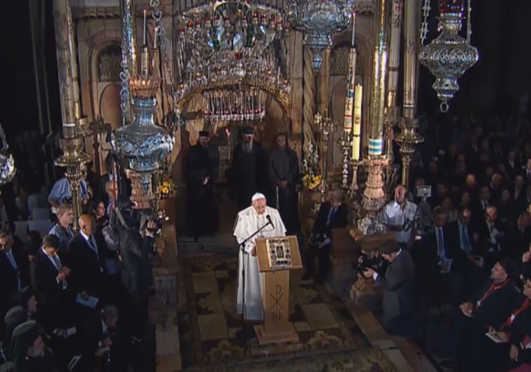 (Pope Francis speaking at Church of the Holy Sepulcre)
