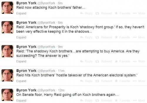 Twitter - @ByronYork - Harry Reid Attacking Koch father