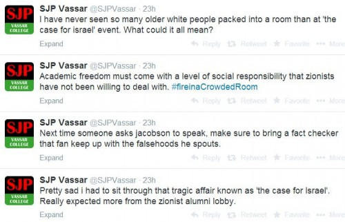 Vassar SJP Tweets re Jacobson speech