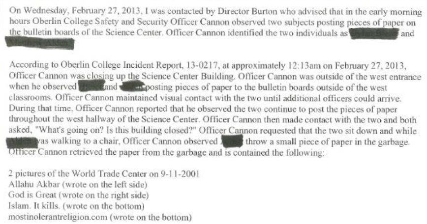 Oberlin Police Report excerpt February 27