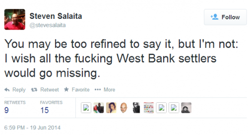 Twitter - @stevesalaita - I wish all the fucking West Bank settlers would go missing