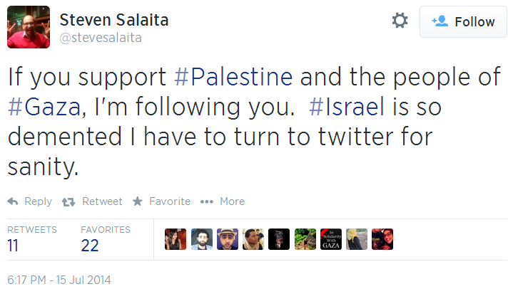 Twitter _ stevesalaita_ If you support Palestine and Israel Demented