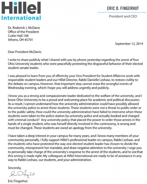 Hillel Letter to Ohio University re Student Arrests