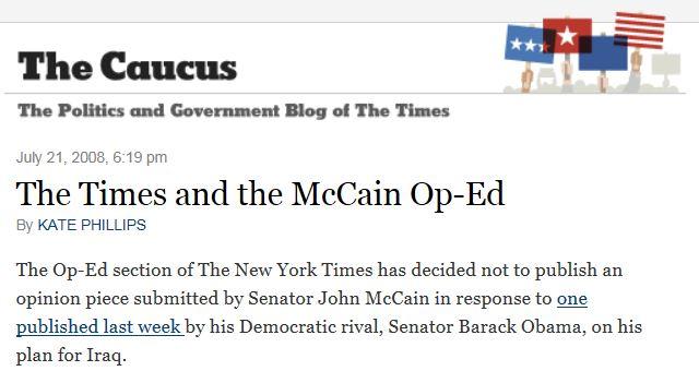 NY Times McCain Op Ed Refusal