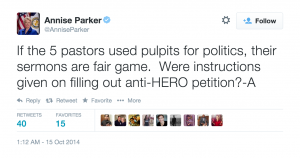 Annise Parker Tweet
