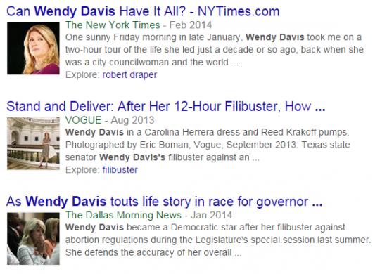 Wendy Davis positive headlines