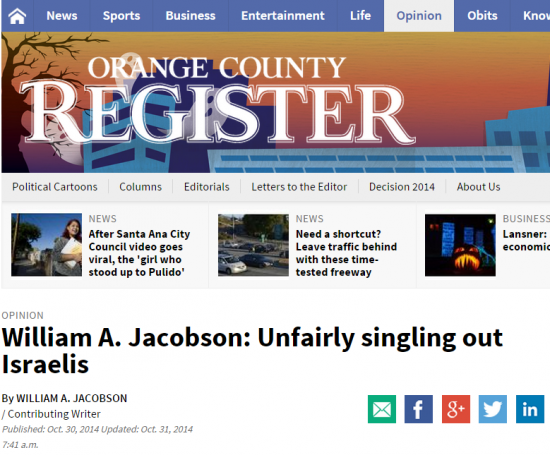 OC Register Unfairly Singling Out Israelis