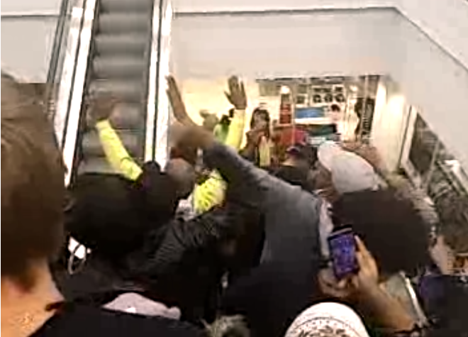 South County Mall Ferguson Protest Bassem Masri Video Sears Escalator
