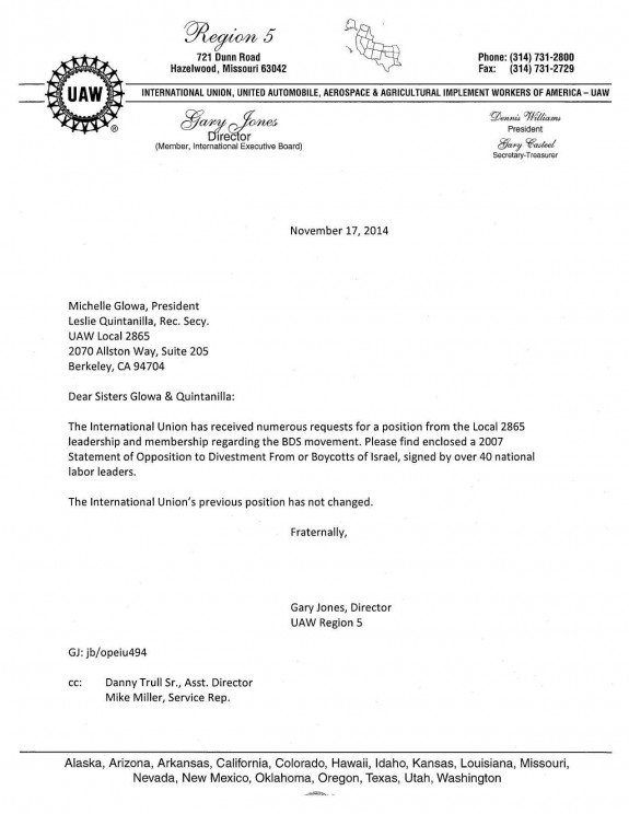UAW-International-California Boycott Letter