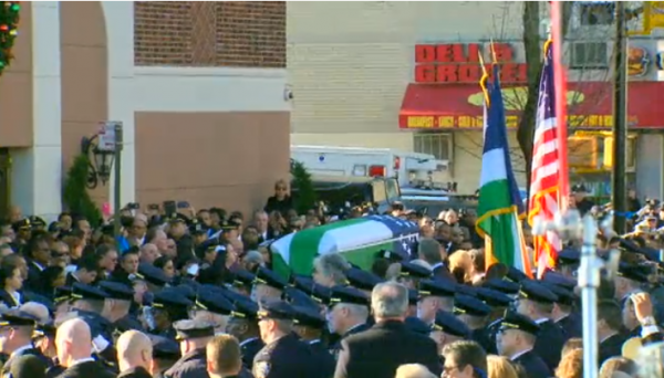 Rafael Ramos NYPD Funeral casket being carried out 3