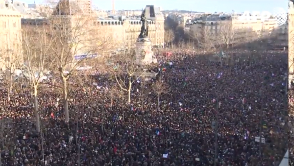 Paris National Unity Rally overhead crowd