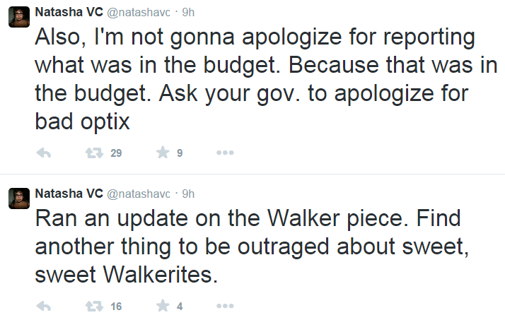 Twitter NatashaVC Scott Walker Sexual Assault Reporting Refuse to Apologize