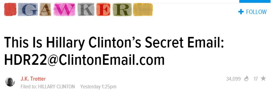 Gawker Hillary Email Address