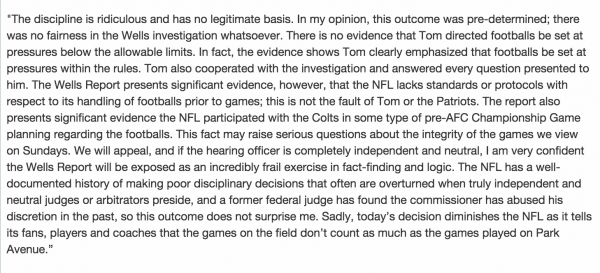 Full statement from Tom Brady's agent Don Yee deflategate new england patriots scandal