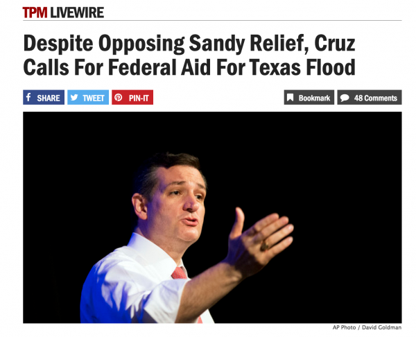 tpm livewire despite opposing sandy relief, cruz calls for federal aid for texas flood bias facts pork spending bad bill hypocrisy ted cruz president 2016