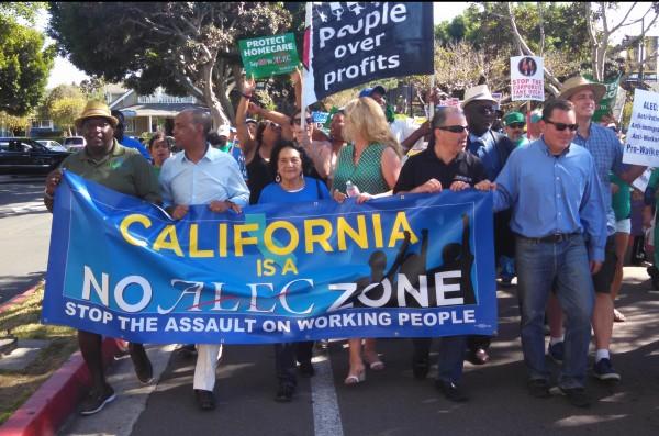 ALEC Protest San Diego ALEC Free Zone Banner