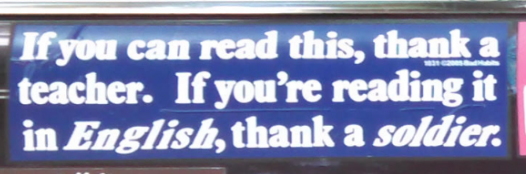 Bumper Stickers - Ithaca - Read English Thank Soldier Close up