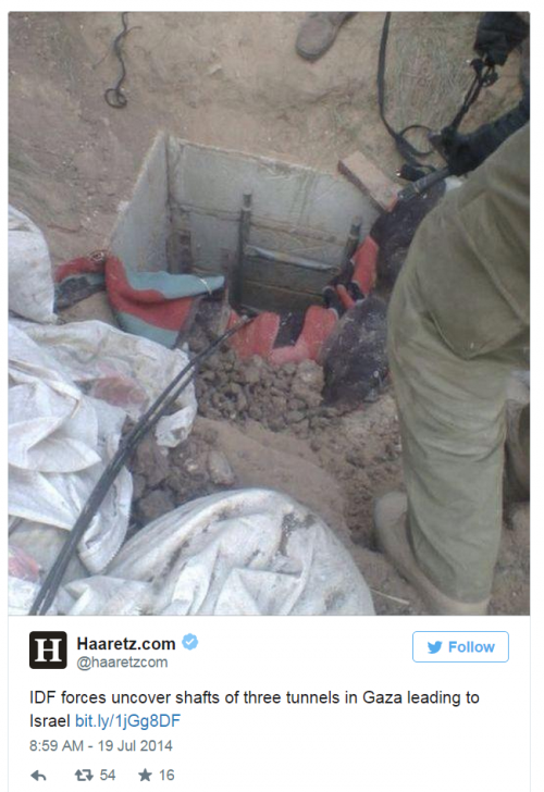 Gaza Tunnel shafts July 18 2014 Haaretz Twitter