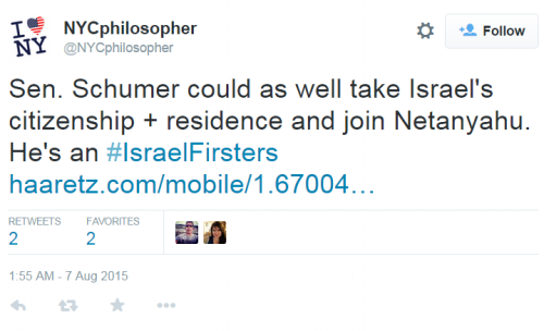 NYC Philosopher Twitter Schumer Israel Firster