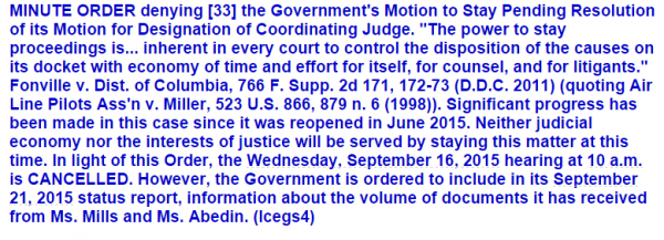 Judicial Watch FOIA Case Huma Abedin - Order Denying Motion for Stay 9-11-2015