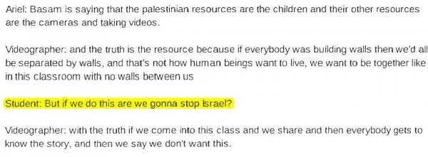 Transcript Bassem Tamimi at Third Grade 4 highlighted