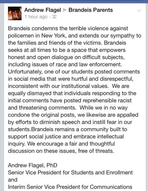 Brandeis Senior VP Statement re Lynch