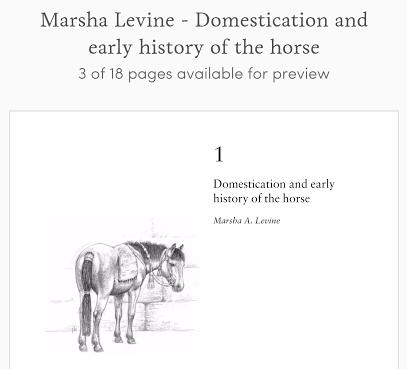 Marsha Levine - Domestication and early history of horses